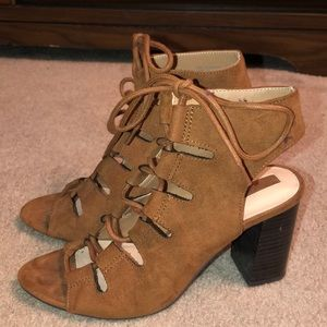 Forever 21 women's lace up suede heels